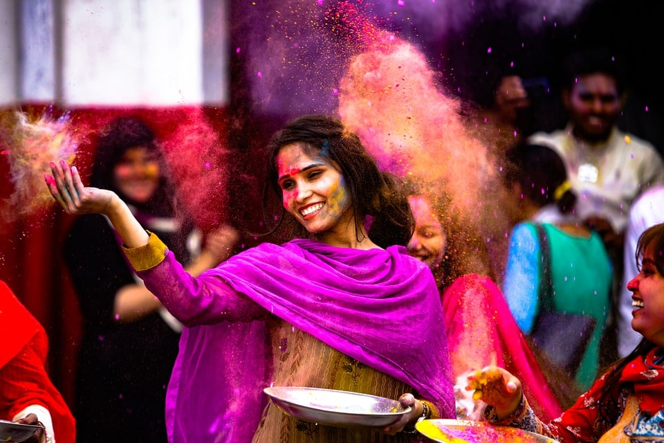 Festival Dance Powder Fun Girl Holi Woman Paint